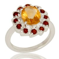 Natural Purple Garnet and Citrine Sterling Silver Cocktail Ring