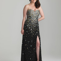 Black Rhinestone Embellished Chiffon Strapless Sweetheart Plus Size Prom Dress - Unique Vintage - Cocktail, Pinup, Holiday & Prom Dresses.
