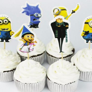 24pcs/Lot Carton cute Minions theme Cup Cake Topper Pick Kitty Party girls kids birthday wedding party decoration