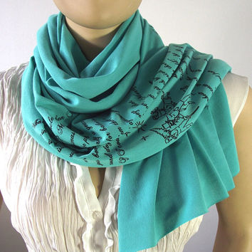 CHARLES DICKENS Scarf - A Christmas Carol - Book Quote Scarf Handprinted Mint Text Literary Scarf Raw Edges Jersey Scarf Book Lovers Gifts