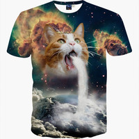 New Fashion Space/Galaxy men brand t-shirt funny print super power cat Jetting water 3D