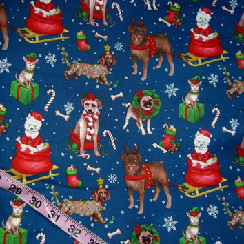 Christmas fabric with dogs Pug Dachshund Chihuahua sleigh cotton quilt print quilting sewing material to sew for crafts by the yard yardage