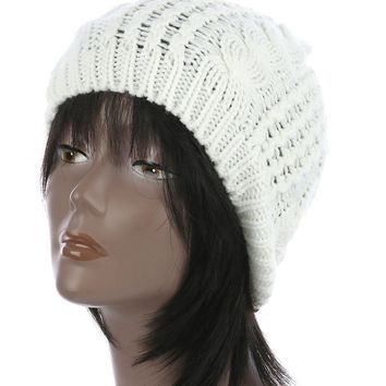 White Cable Knit Winter Beanie Hat And Cap