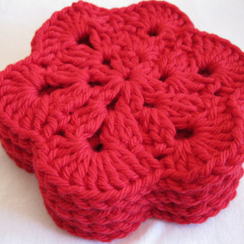 Crochet Coaster - Set of Four Red Crochet African Flower Coasters