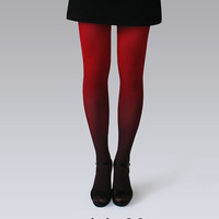 Black-red ombre tights