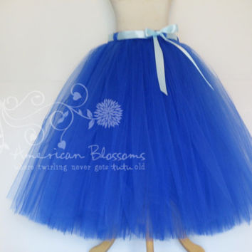Royal Blue Bridesmaid Blue Tulle Skirt Tea Length Adult tutu Long Teen Bridesmaid Anna Costume Blue Skirt Anna Wedding American Blossoms