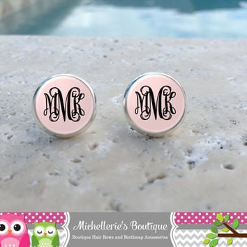 Light Pink and White Monogram Earrings, Monogram Jewelry, Monogram Accessories, Monogram Studs, Monogram Leverbacks, Gifts