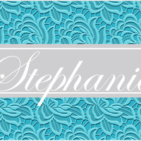 Personalized License Plate Car Tag - Lace Flowers and Ribbon