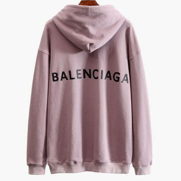 ONETOW Balenciaga Fashionable Ladies Personality Logo Print Long Sleeve Sweater Hoodies Top Pink