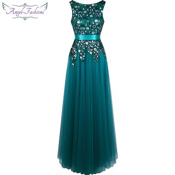 Angel-fashions Ruched Sashes Backless Floral Sequin Long Evening Dresses Party Gown 337
