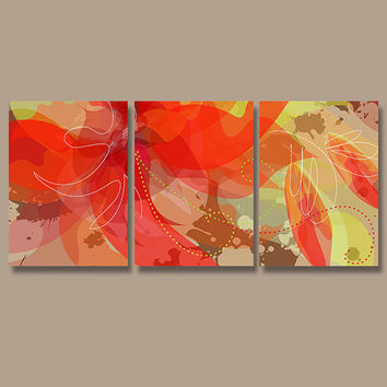 Wall Art Canvas Watercolor Artwork Pottery Abstract Flourish Flower Floral Design Red Brown Yellow Set of 3 Prints Bedroom Bathroom Three