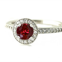 14K Ruby Engagement Ring Diamond Halo Ruby Ring Custom July Birthstone Wedding Jewelry 18K Platinum Palladium