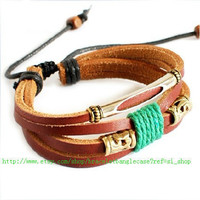 Jewelry bangle leather bracelet woven bracelet men bracelet boys bracelet made of leather and ropes woven metal wrist bracelet  SH-2552