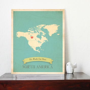 My Roots Personalized Continents Maps, Print, Educational, Playroom Decor