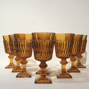 Amber Mt Vernon Wine Goblets, Indiana Glass Amber Wine Glasses Set of  8