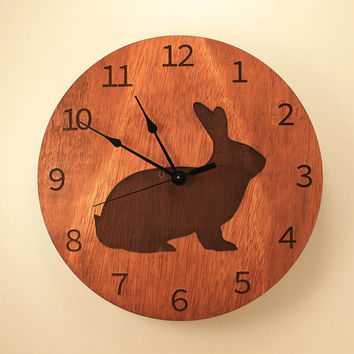 Bunny laser cut clock Rabbit clock Animal clock Wood clock Wall clock Wooden wall clock Rabbit design Pet lover's gift Home clock