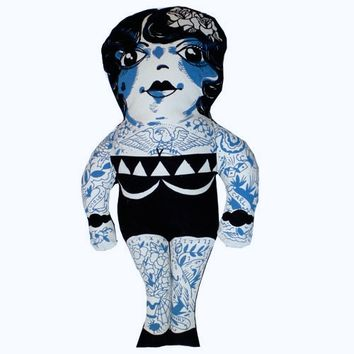 It's awesome tattoo lady doll print on cotton fabrication, the image designed by Los Angeles tattoo artist Jason Schroder, inspired by turn of the century real tattooed people. Lil Ms. Edith is tattooed front and back.