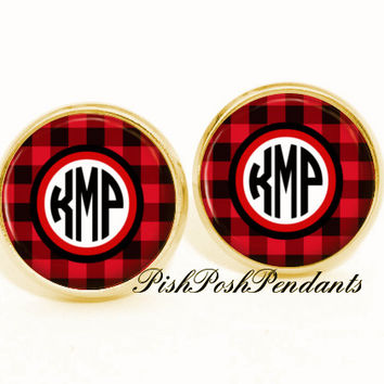 Monogram Earrings, Personalized Monogram Stud Earrings, Plaid Monogram Earrings, Monogram Jewelry (534)