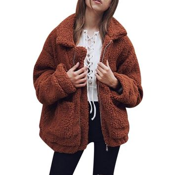 Fashion Faux Fur Warm Coat Women Fluffy Shaggy Cardigan Zipper Jacket Womens Outwear Turn-down Collar Tops Overcoat Female Mujer