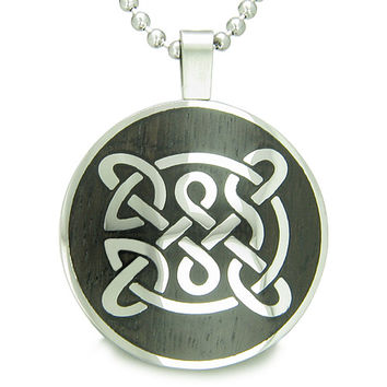 Life Protection Celtic Shield Knot Black Wood Amulet Circle Pendant 18 Inch Necklace