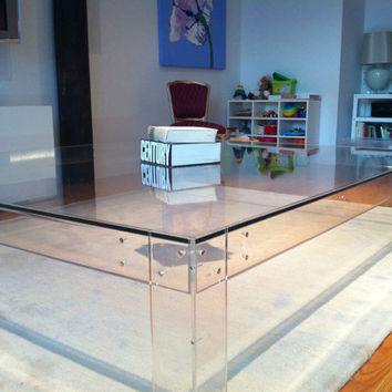 Living Room Table  Clear Table  Glass by GreenFurnitureDesign