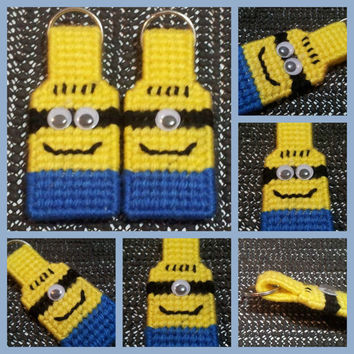 Minion Inspired keychain - backpack - purse tag - zipper pull made from plastic canvas googly eyes and yarn in colors of blue yellow & black