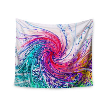 "Alison Coxon ""Colour Wave"" Teal Fantasy Wall Tapestry"