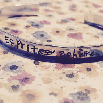gypsy spirit feather   handstamped  aluminium bracelet