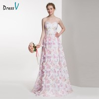 DressV sweetheart printing bridesmaid dress 2017 A-line sleeveless zipper up wedding party dress long printed bridesmaid dress