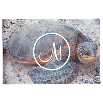 Hawaiian sea turtle custom monogram photo doormat