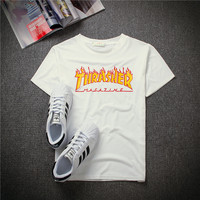 Womens Thrasher Print Cotton T-Shirt Tee Top