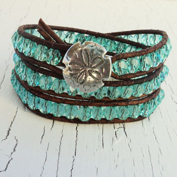 Aqua Leather Wrap Bracelet, Triple Wrap Bracelet,Layered Sand Dollar Bracelet, Beach Chic, Surfer Girl Bracelet, Boho Bohemian Blue