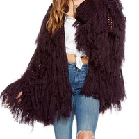 Long Tassel Knit Open Cardigan