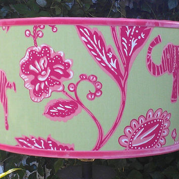 Pendant Drum Lampshade Green Hot Pink Zebra Elephants Flowers Tropical African Batik Print Pink Grosgrain Flamingo Velvet Ribbon Trim Bright
