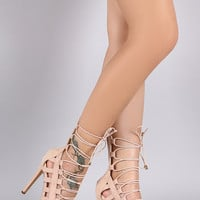Liliana Elasticized Lace Up Open Toe Heel