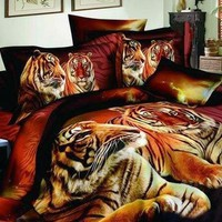 3D Heart-Warming Tiger Couples on Land Printed Cotton Luxury 4-Piece Bedding Sets/Duvet Covers