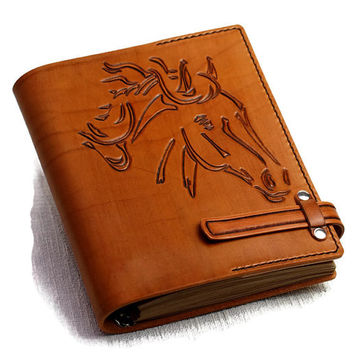 Horse Journal Gift Leather Personalized Journal Notebook Diary Light Brown Leather 7x9 Custom Journal Gift for Him Gift for Her TiVergy Book