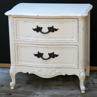 Shabby Chic nightstand french provincial distressed vintage white.