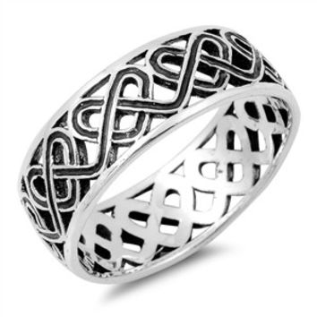 925 Sterling Silver Heart Weave Wiccan Ring 7MM