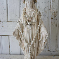 White Virgin Mary chalkware statue French Nordic plaster antique Madonna figure crown and halo shabby cottage chic decor anita spero design