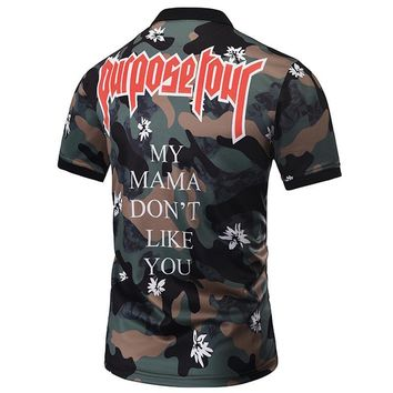 Camouflage POLO Shirts Men Summer Tops Print Flowers Letters Male Graphic Polo Shirts