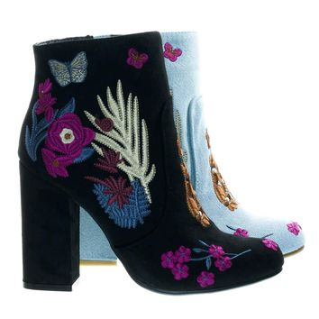 Namaste11 Black by Bamboo, Floral Embroidery Block Heel Ankle Bootie w Faux Fur Lining