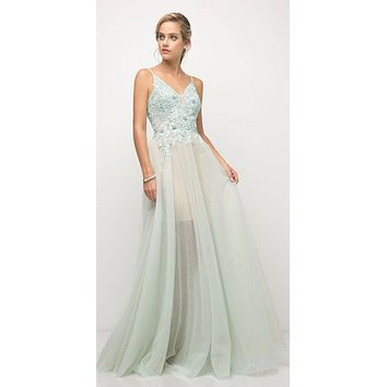 Mint A-line Long Prom Dress Spaghetti Strap Appliqued Bodice