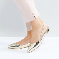 Faith Wide Fit Aaliyah Pointed Flat Shoes at asos.com