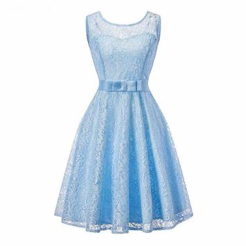 Ball Gown Lace splicing  fashion sky blue wedding party dress prom  Short Bridesmaid Dresses
