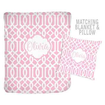 Pink Trellis Blanket - Pink Pattern Pillow - Blanket Pillow Set - Girl MONOGRAM Blanket - Velveteen - Personalized Nursery -Girl Shower Gift