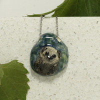 Cute Sea Otter small Ceramic pendant