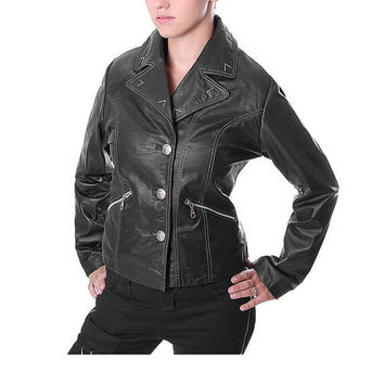 women classic biker style pure leather jacket handmade with quality button, women's biker leather jacket, black  leather jacket
