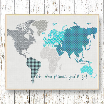 Oh, the Places you'll Go! Dr Seuss  Family Room playroom - Kids wall art World map Blue and gray Boys bedroom art for children