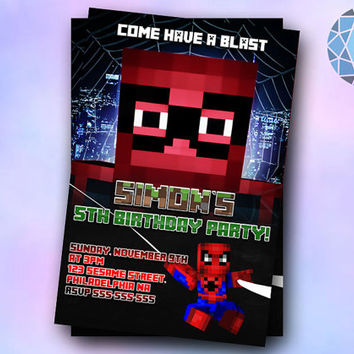 Minecraft Spiderman Inspiration Design For Digital File, Birthday Invitation by SaphireInvitations